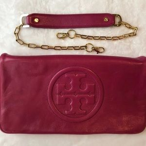 Tory Burch Pink Leather Bombe Clutch